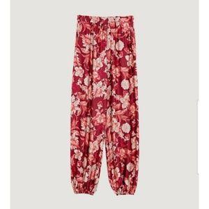Floral Elastic Waist Harem Ankle Joggers Pants